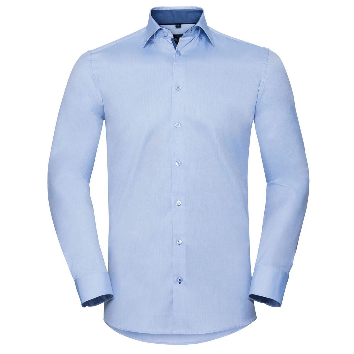 Tailliertes Herringbone Kontrast-Hemd - Langarm