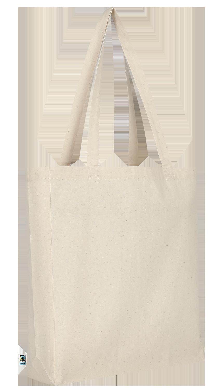 Tasche aus Fairtrade-Baumwolle mit zwei langen Henkeln, Boden- und Seitenfalte