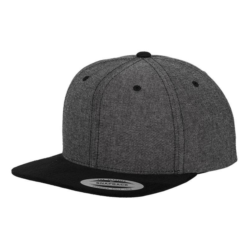 Chambray-Suede Snapback Cap